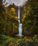 Multnomah Falls, autumn, Benson Bridge, 542-foot and 69-foot falls, Columbia River Gorge, Oregon,