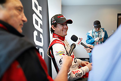 March 1, 2019 - Las Vegas, NV, U.S. - LAS VEGAS, NV - MARCH 01: Erik Jones (20) Joe Gibbs Racing (JGR) Toyota Camry answers questions from the media in the ThriveHive Digital Center prior to practice and qualifying for the Monster Energy NASCAR Cup Series Pennzoil 400 on March 1, 2019, at Las Vegas Motor Speedway in Las Vegas, NV. (Photo by Joe Buglewicz/Icon Sportswire) (Credit Image: © Joe Buglewicz/Icon SMI via ZUMA Press)