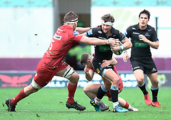 Glasgow Warriors' Peter Horne under pressure from Scarlets' Steven Cummins<br /> <br /> Photographer Simon King/Replay Images<br /> <br /> Guinness PRO14 Round 19 - Scarlets v Glasgow Warriors - Saturday 7th April 2018 - Parc Y Scarlets - Llanelli<br /> <br /> World Copyright © Replay Images . All rights reserved. info@replayimages.co.uk - http://replayimages.co.uk