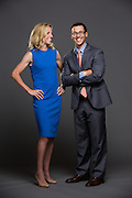 FOX Sports announcers Justin Kutcher and Aly Wagner pose for a portrait at Sharon Heights Golf & Country Club in Menlo Park, California, on May 4, 2015. (Stan Olszewski/SOSKIphoto for FOX Sports)