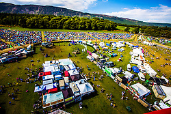 """The view from the Giant Wheel, overlooking the campsite area. Saturday at Rockness 2013, the annual music festival which took place in Scotland at Clune Farm, Dores, on the banks of Loch Ness, near Inverness in the Scottish Highlands. The festival is known as """"the most beautiful festival in the world"""" ."""