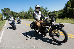 Steve Rinker riding his 1916 Indian with sons Justin and Jared on their Indians right behind during the Motorcycle Cannonball Race of the Century. Stage-3 from Morgantown, WV to Chillicothe, OH. USA. Monday September 12, 2016. Photography ©2016 Michael Lichter.