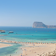 Balos beach (Crete) panoramic photo with Gramvousa island
