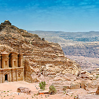 Petra. Jordan. Sweeping view of the legendary Monastery which is the most awe inspiring monument at ancient rose red city of Petra. Dating from the third century BC, the Monastery is hidden above the hills and at least 60 minutes climb from the ancient city's centre.