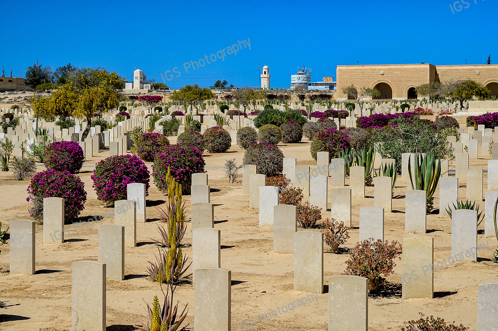 The Commonwealth War Cemetery is a haunting place where more than 7240 tombstones stand in regimented rows between beautifully tended desert plants