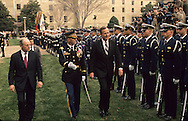 Dick Cheney and President H W Bush (Bush 41) review the troops  at a swearing in ceremony for Secretary of Defense Dick Cheney,...Photograph by Dennis Brack bb 28