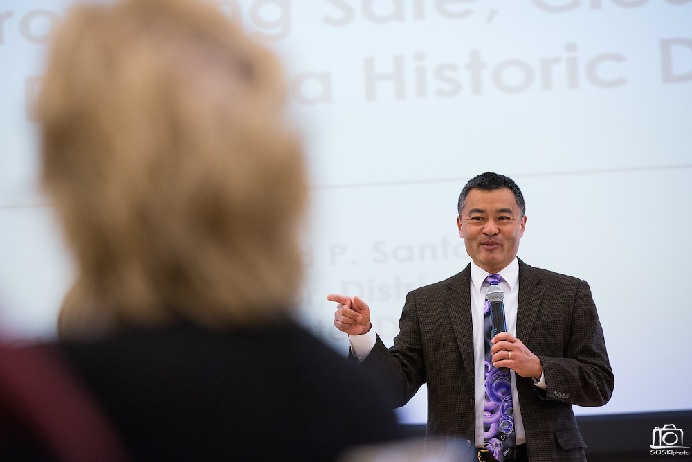 Milpitas Superintendent Cary Matsuoka provides a school update during the Milpitas Chamber of Commerce Business Breakfast at the Milpitas Senior Center in Milpitas, California, on April 14, 2015. (Stan Olszewski/SOSKIphoto)