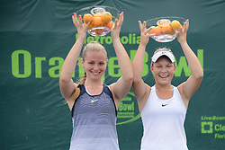 December 9, 2016 - Plantation, Florida, United States - ISABELLA TCHERKES ZADE of Italy (left) and SAARA ORAV of Estonia after winning the 16 and under doubles title in the Metropolia Orange Bowl International Tennis Championship in Plantation Florida (Credit Image: © Christopher Levy via ZUMA Wire)