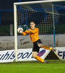 Cowdenbeath's keeper Thomas Flynn saves from Falkirk's Blair Alston.<br /> Cowdenbeath 0 v 2 Falkirk, Scottish Championship game today at Central Park, the home ground of Cowdenbeath Football Club.<br /> © Michael Schofield.