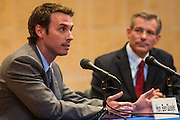 02 JULY 2012 - PARADISE VALLEY, AZ:  Congressman BEN QUAYLE, son of former Vice President Dan Quayle, speaks at a Republican candidate forum in Paradise Valley Monday, his opponent DAVID SCHWEIKERT is in the background. Schweikert and Quayle, both conservative freshmen Republican Congressmen from neighboring districts are facing each other in an August primary to see which one will represent Arizona's 6th Congressional District in 2013. The two were thrown into the same district as a result of legislative redistricting.  PHOTO BY JACK KURTZ