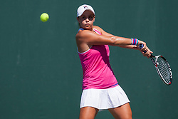 March 23, 2018 - Key Biscayne, FL, U.S. - KEY BISCAYNE, FL - MARCH 23: Ashleigh Barty (AUS) in action on Day 5 of the Miami Open Presented at Crandon Park Tennis Center on March 23, 2018, in Key Biscayne, FL. (Photo by Aaron Gilbert/Icon Sportswire) (Credit Image: © Aaron Gilbert/Icon SMI via ZUMA Press)