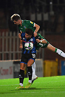 Sheffield Wednesday's ???? battles with Rochdale's Alex Newby<br /> <br /> Photographer Dave Howarth/CameraSport<br /> <br /> Carabao Cup Second Round Northern Section - Rochdale v Sheffield Wednesday - Tuesday 15th September 2020 - Spotland Stadium - Rochdale<br />  <br /> World Copyright © 2020 CameraSport. All rights reserved. 43 Linden Ave. Countesthorpe. Leicester. England. LE8 5PG - Tel: +44 (0) 116 277 4147 - admin@camerasport.com - www.camerasport.com
