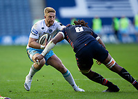 Rugby Union - 2021 Guinness Pro14 Rainbow Cup - Northern Group - Edinburgh vs Glasgow Warriors - Murrayfield<br /> <br /> Kyle Steyn of Glasgow Warriors is tackled bt Bill Mata of Edinburgh Rugby<br /> <br /> Credit : COLORSPORT/BRUCE WHITE