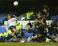 Photo: Aidan Ellis.<br /> Everton v Chelsea. The FA Cup. 28/01/2006.<br /> Chelsea's Hernan Crespo puts a glorious chance to score over the cross bar