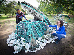The Big Flower Fight<br /> At Kew Gardens, London, Great Britain <br /> press photo call <br /> 20th August 2020 <br />  <br /> Andrew Whittle and Ryan Lanji of Netflix's 'The Big Flower Fight' beside one of their creations for the show<br />  <br /> A bespoke botanical sculpture of a magnificent humpback whale emerging from Kew's Orangery Lawn, created by the winners of hit original Series, 'The Big Flower Fight'.<br />                        <br /> The sculpture will be displayed 22 August – 18 September as part of Kew's 'Travel the World festival. <br />                             <br /> The living sculpture contains over 700 plants imitating the colours and textures of a humpback whale, including blue-tinged succulents and grasses.<br /> <br /> Photograph by Elliott Franks