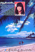 United Airlines magazine ad published on the back cover of Sunset magazine. Couple on the beach in Poipu, Island of Kauai,  Hawaii.