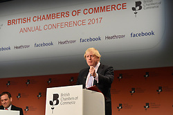 © Licensed to London News Pictures. 28/02/2017.  Secretary of State for Foreign and Commonwealth Affairs BORIS JOHNSON makes a keynote speech at the British Chambers of Commerce Annual Conference 2017 on growing business in the regions and nations. London, UK. Photo credit: Ray Tang/LNP