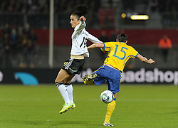 26.10.2011, Millerntor-Stadion, Hamburg, GER, FSP, Deutschland vs Schweden, im Bild Fatmire Bajramaj (Deutschland #19), Therese Sjögran / Sjoegran (Schweden #15)..// during the friendly match Deutschland vs Schweden on 2011/10/26, Millerntor-Stadion, Hamburg, Germany..EXPA Pictures © 2011, PhotoCredit: EXPA/ nph/  Frisch       ****** out of GER / CRO  / BEL ******