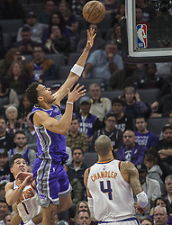 December 29, 2017 - Sacramento, CA, USA - The Sacramento Kings' Skal Labissiere, left, goes to the basket against the Phoenix Suns on Friday, Dec. 29, 2017, at the Golden 1 Center in Sacramento, Calif. (Credit Image: © Hector Amezcua/TNS via ZUMA Wire)