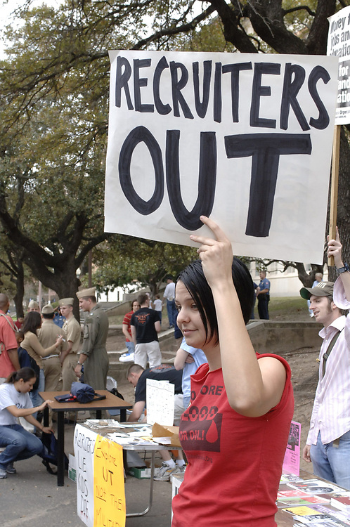 Austin, TX  March 6, 2006: Students protest the presence of military recruiters at an open house on the University of Texas at Austin campus on Saturday.  No arrests were reported in the peaceful demonstration.  <br /> ©Bob Daemmrich/