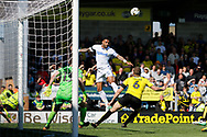 Leeds United defender Kyle Bartley (5) heads the ball across goal during the EFL Sky Bet Championship match between Burton Albion and Leeds United at the Pirelli Stadium, Burton upon Trent, England on 22 April 2017. Photo by Richard Holmes.