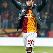 Galatasaray's Colin Kazim Richards celebrate victory during their Turkish Super League soccer match Galatasaray between Manisaspor at the TT Arena at Seyrantepe in Istanbul Turkey on Wednesday, 21 December 2011. Photo by TURKPIX