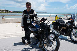 Richard Campbell riding his restored 1940 opposed twin Zundapp during the Cross Country Chase motorcycle endurance run from Sault Sainte Marie, MI to Key West, FL. (for vintage bikes from 1930-1948). The staging area on a Key West pier just before the finish and near the end of the 110 mile Stage-10 ride from Miami to Key West, FL USA. Sunday, September 15, 2019. Photography ©2019 Michael Lichter.