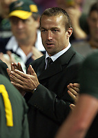 Photo: Richard Lane.<br />South Africa v Uruguay, Pool C at the Subiaco Oval, Perth. RWC 2003. 11/10/2003. <br />Corne Krige, the South African captain claps off his team.