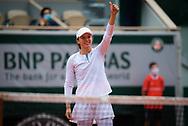 Iga Swiatek of Poland celebrates winning against Nadia Podoroska of Argentina the semi-final of the Roland Garros 2020, Grand Slam tennis tournament, on October 8, 2020 at Roland Garros stadium in Paris, France - Photo Rob Prange / Spain ProSportsImages / DPPI / ProSportsImages / DPPI