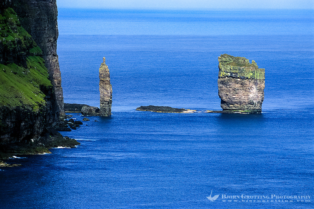 Faroe Islands. Risin og Kellingin (the Giant and the Witch) sea stacks.