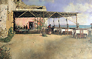 A Taverna at Posillipo', c1886. Oil on canvas. Vincenzo Migliaro (1858-1938) Italian painter. Terrace Shade Refreshment Sea