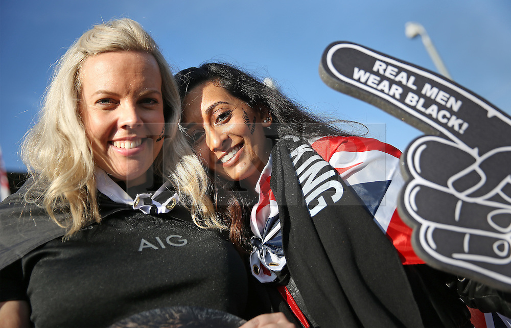 © Licensed to London News Pictures. 31/10/2015. London, UK. New Zealand rugby fans pose for photos as they arrive for the Rugby World Cup final at Twickenham. Photo credit: Peter Macdiarmid/LNP