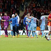 Trabzonspor's players celebrate victory during their Turkish superleague soccer derby match Galatasaray between Trabzonspor at the AliSamiYen spor kompleksi TT Arena in Istanbul Turkey on Saturday, 22 November 2014. Photo by Aykut AKICI/TURKPIX
