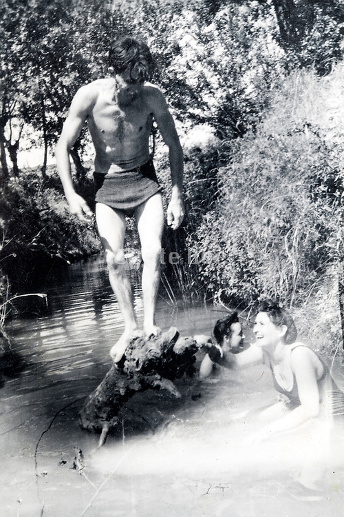 nice summerday swim in a small countryside stream ca 1960s