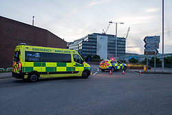 © Licensed to London News Pictures. 20/06/2020. Reading, UK. An ambulance and police vehicle at a corodon close to Forbury Gardens. Police on site at Forbury Gardens Gardens in Reading responding to reports of a stabbing. Police and paramedics responded on mass to the incident including at least two air ambulances. Photo credit: Peter Manning/LNP