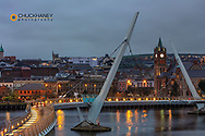 The Peace Bridge over the River Foyle in Londonderry, Northern Ireland