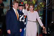 Celebration of the 75th anniversary of the Queen, with ballet of Introdans, for (former) employees and family in Utrecht<br /> <br /> On the photo:  Princess Maxima and Prince Willem-Alexander