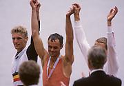 Bled, Slovenia, YUGOSLAVIA.  Middle. Gold Medalist, NED LM1X. Frans GOEBEL. left Silver medalist. BEL LM1X Wim VAN BELLEGHEM  right, Bronze medalist GER LM1X. Alwin OTTEN. 1989 World Rowing Championships, Lake Bled. [Mandatory Credit. Peter Spurrier/Intersport Images]