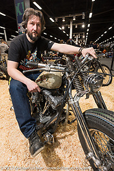 Vlad Romanov of Leecoln Hotrods on his Shovelhead in the Custom and Tuning Show, the custom bike show portion of the big Motor Spring bike show in Moscow, Russia. Sunday April 23, 2017. Photography ©2017 Michael Lichter.