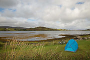 Kinloch Campsite over looking Loch Dunvegan on the 4th September 2016 on the Isle of Skye in Scotland in the United Kingdom.