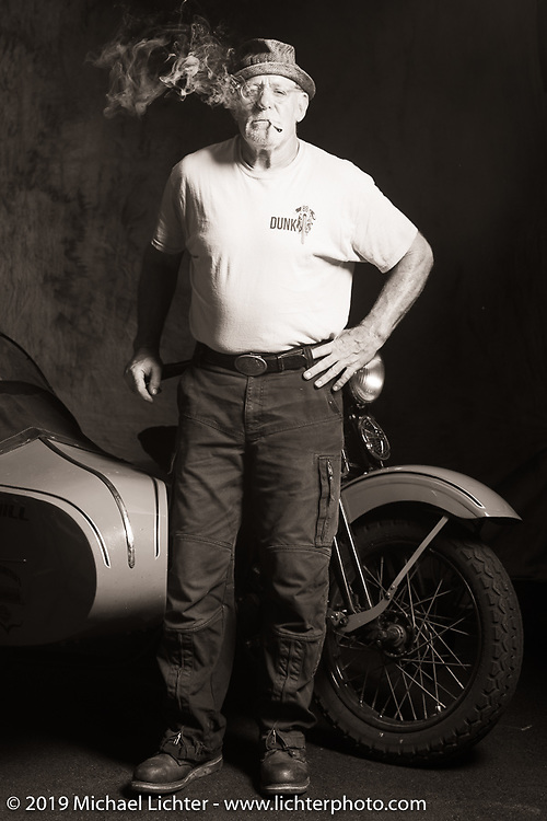 """Erik Dunk, known to everyone simply as """"Dunk"""", with his 1937 Harley-Davidson EL during the Cross Country Chase motorcycle endurance run from Sault Sainte Marie, MI to Key West, FL (for vintage bikes from 1930-1948). Photographed at the end of the Stage 5 ride from Bowling Green, KY to Chatanooga, TN USA. Tuesday, September 10, 2019. Photography ©2019 Michael Lichter."""