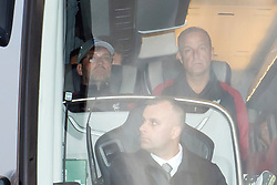 Liverpool manager Jurgen Klopp (left) is seen through the team bus window as it leaves John Lennon Airport after defeat in the UEFA Champions League Final against Real Madrid in Kiev.