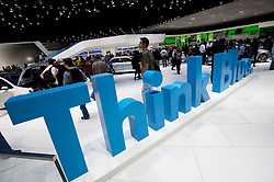 Volkswagen Think Blue advertising message on stand at the Geneva Motor Show 2011 Switzerland