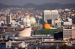 Skyline over city of Nagasaki in Kyushu Japan