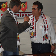 Eskisehirspor new head coach Michael Skibbe and president Halil UNAL (R) seen during their sign ceremony at Lanaken in Belgium on Thursday, 21 July 2011. Photo by TURKPIX