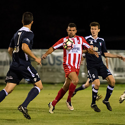 BRISBANE, AUSTRALIA - APRIL 7: Ramone Close of Olympic FC controls the ball during the NPL Queensland Senior Men's Round 7 match between Olympic FC and Brisbane City at Goodwin Park on April 7, 2017 in Brisbane, Australia. (Photo by Patrick Kearney/Olympic FC)