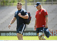 31 May 2013; British & Irish Lions players Cian Healy, left, and Richard Hibbard during the captain's run ahead of their game against Barbarian FC on Saturday. British & Irish Lions Tour 2013, Squad Captain's Run, Aberdeen Sports Ground, Aberdeen, Hong Kong, China. Picture credit: Stephen McCarthy / SPORTSFILE