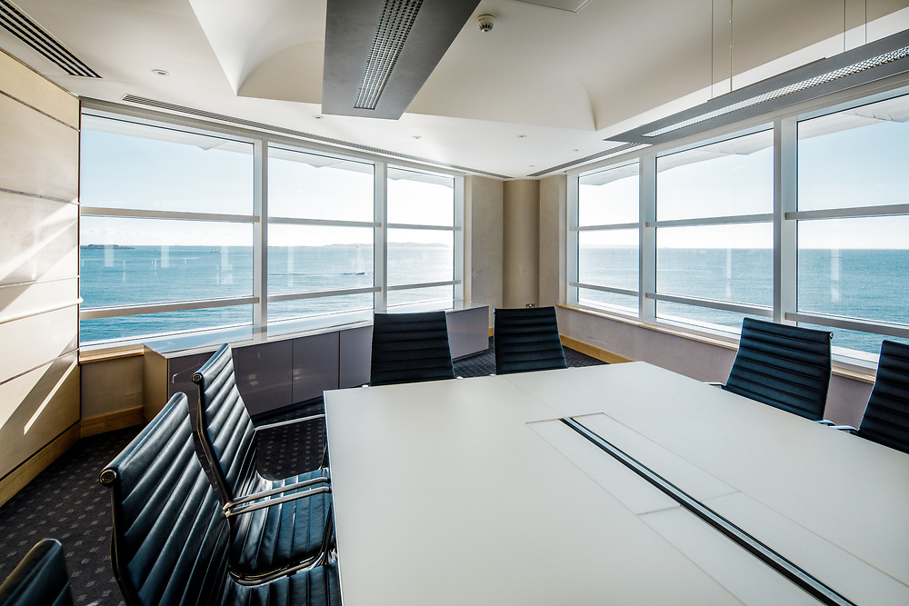 Ocean view from the boardroom of corporate offices located on the waterfront in the offshore finance district of St Peter Port, Guernsey