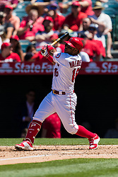 June 3, 2018 - Anaheim, CA, U.S. - ANAHEIM, CA - JUNE 03: Los Angeles Angels third baseman Luis Valbuena (18) during the MLB regular season game against the Texas Rangers on June 03, 2018 at Angel Stadium of Anaheim in Anaheim, CA. (Photo by Ric Tapia/Icon Sportswire) (Credit Image: © Ric Tapia/Icon SMI via ZUMA Press)