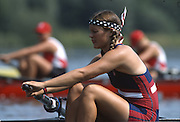 Hazewinkel. BELGIUM, USA JW8+, Bronze Medalist, with their Stars and Stripes Bandana's/Head/sweat bands Bow. Erin BECHT,  Dana PEIRCE,  Elizabeth NELSON,  Carolyn GOLTRA,  Portia MC GEE,  Rachel BRUNELLE,  Sarah BRENNAN,  Alison HICKEY,  and  Cox, Carrie HUTTENLOCHER. competing at the 1997 FISA Junior World Rowing Championships. Course, Bloso Rowing Centre, Heindonk, Willebroek, Mechelen, Belgium. 1997 Junior World Rowing Championships, Hazewink